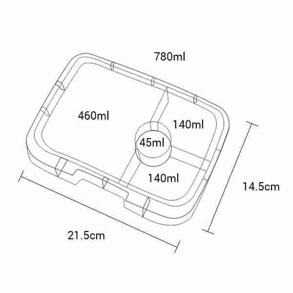 Yumbox Panino Tray - Dimensions