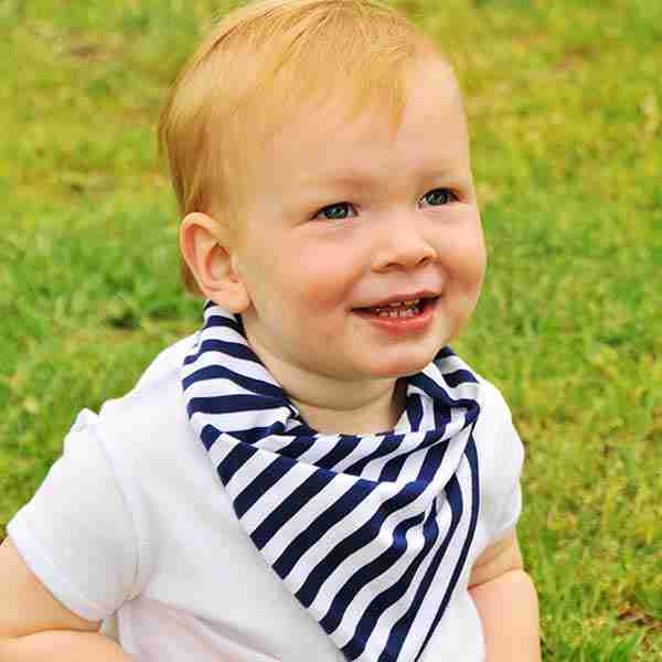 LimaBean Bandana Bib - Navy Stripes - Lifestyle
