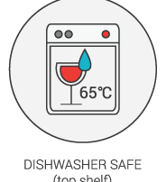 Product Icon - Dishwasher Safe (65 degrees celcius top shelf)