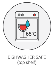 Dishwasher Safe (top shelf and 65°C)
