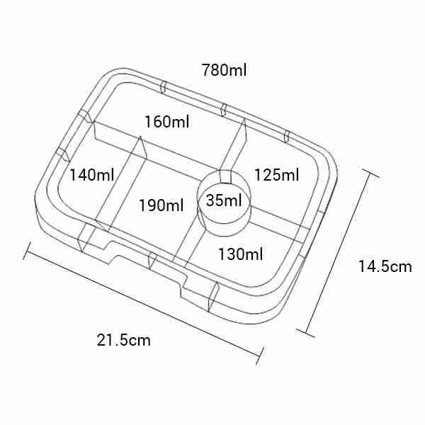 Yumbox Original Tray - Dimensions