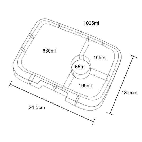 Yumbox Tapas 4C Tray - Dimensions