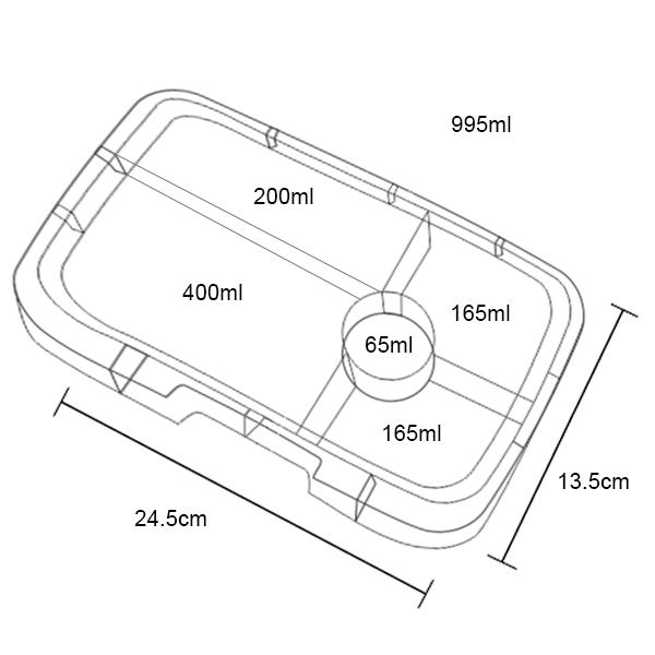 Yumbox Tapas 5C Tray - Dimensions