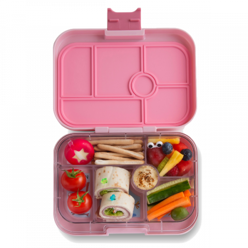 Yumbox Original - Hollywood Pink - Open With Food