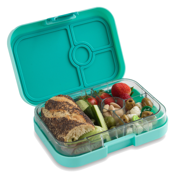 Yumbox Panino - Surf Green - Open With Food Angle