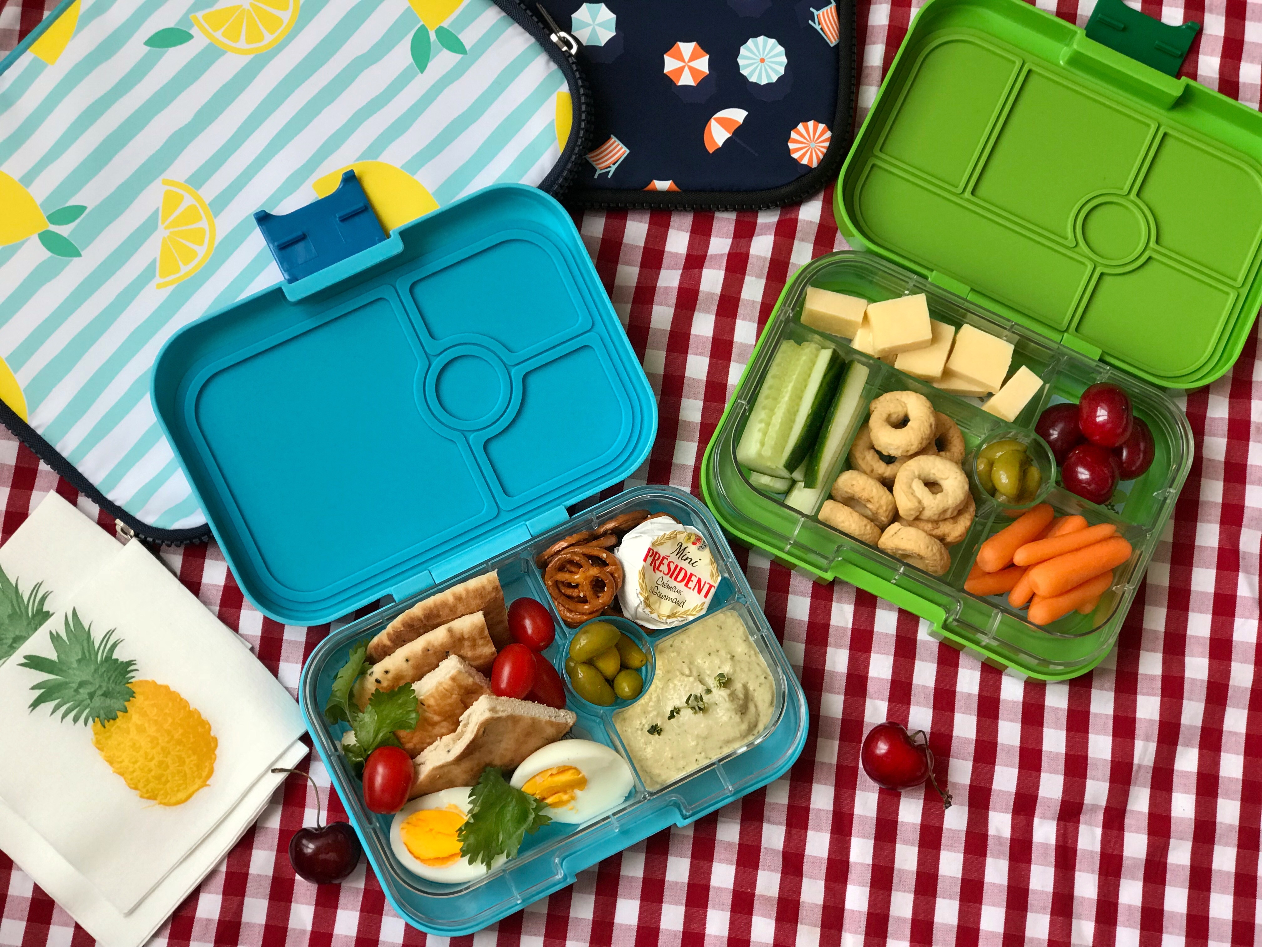 Yumbox - Lifestyle Avocado Green Original and Blue Fish Panino