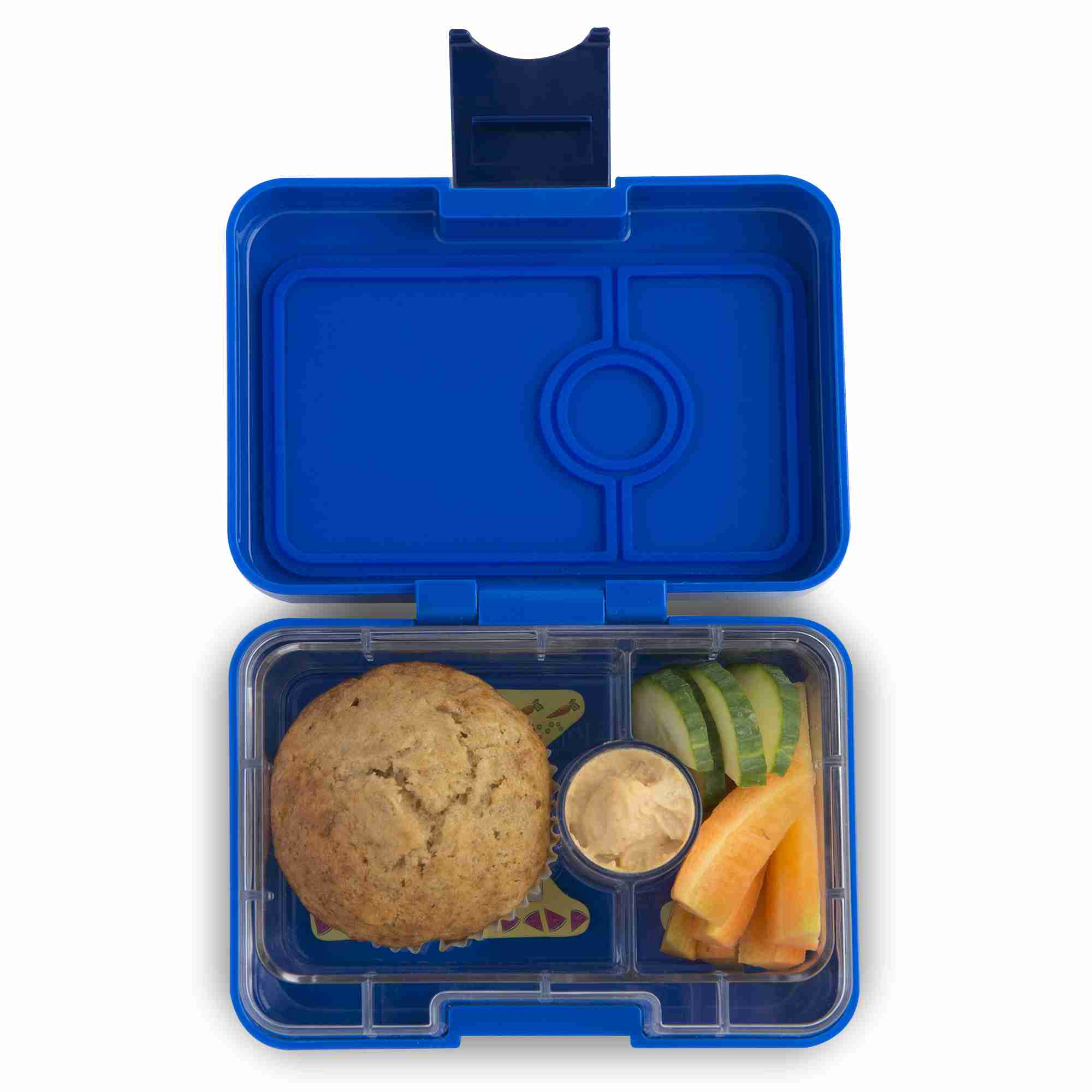 Yumbox MiniSnack - Neptune Blue - Open With Food
