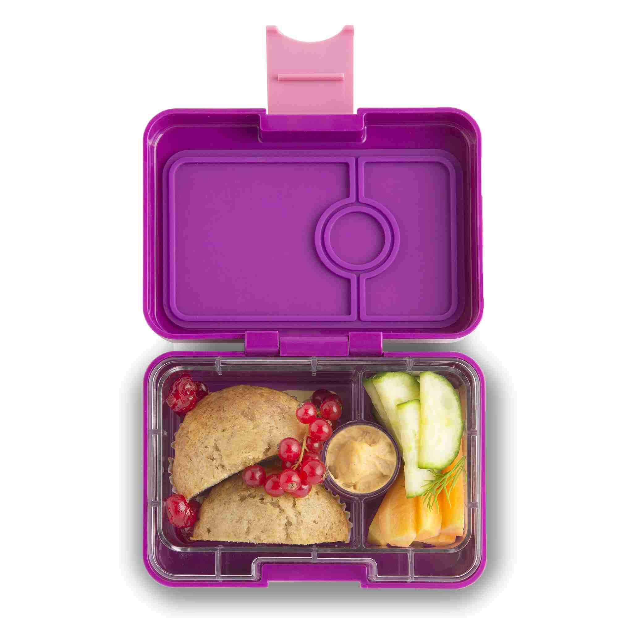 Yumbox MiniSnack - Bijoux Purple - Open With Food