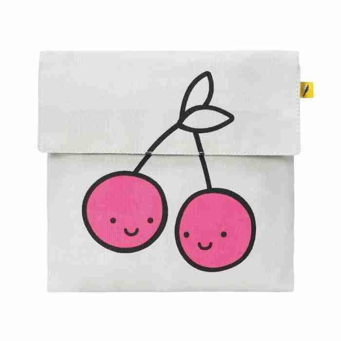 Fluf - Flip Snack Sack - Pink Cherries