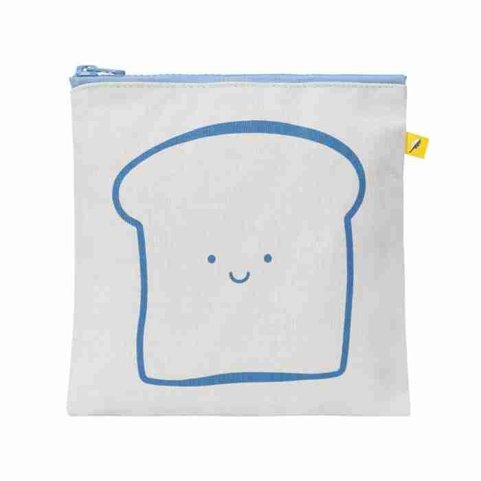 Fluf - Zip Snack Sack - Happy Bread Blue