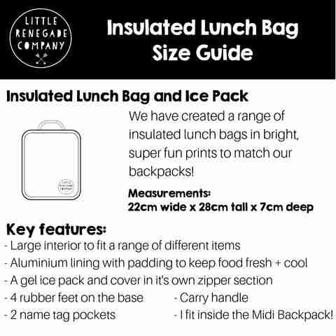 Little Renegade - Insulated Lunch Box - Size Guide