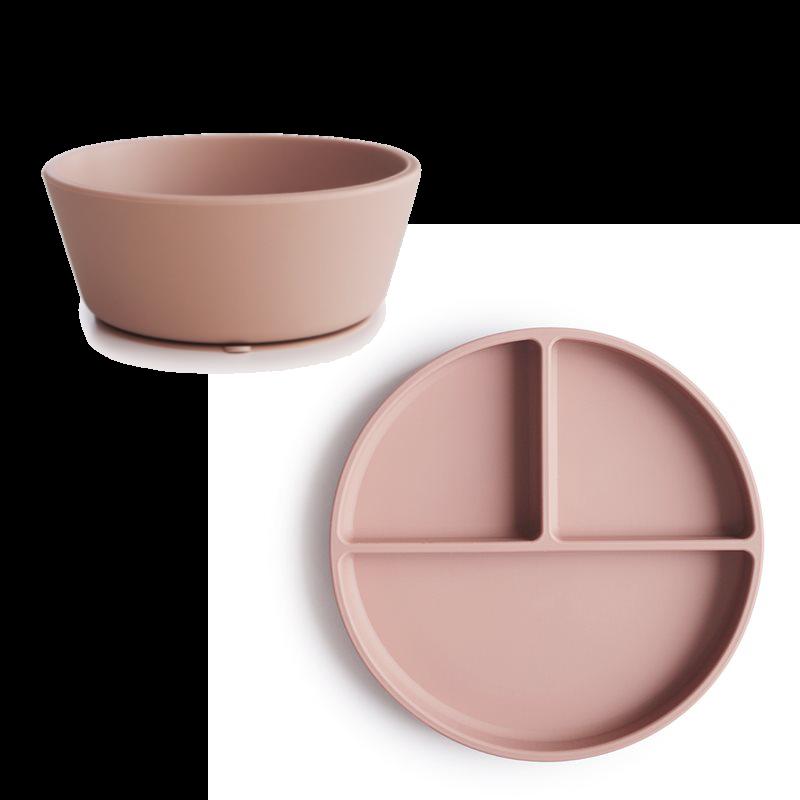 Mushies - Sticky Plate and Bowl Set - Blush