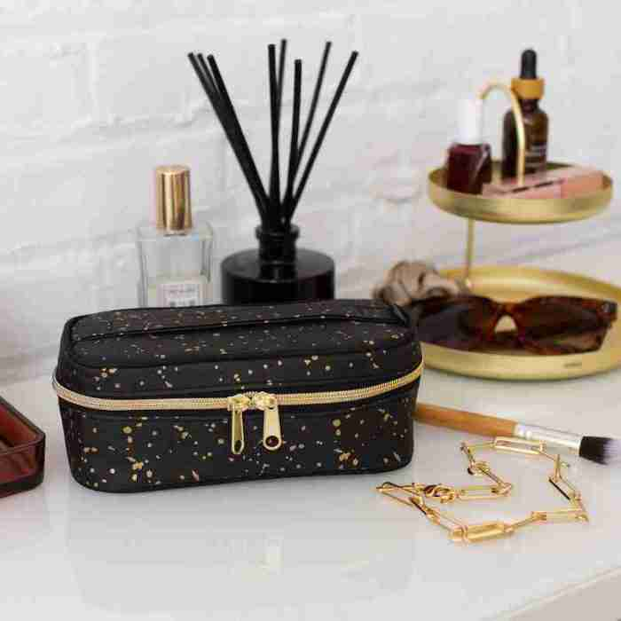 Petit Beauty Poche Black Paper Gold Splatter Lifestyle